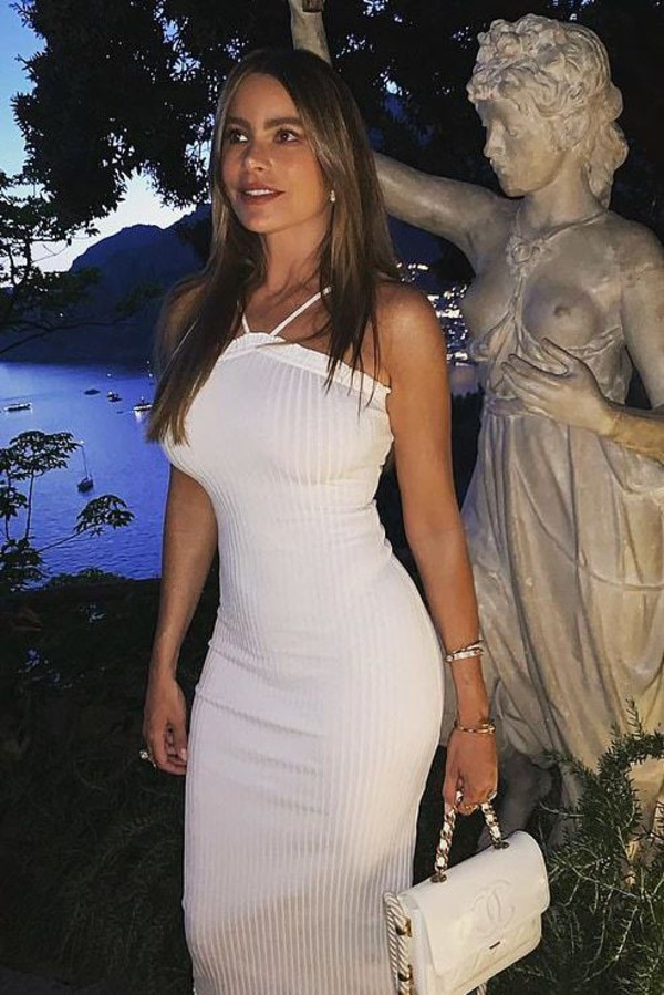 dress white white dress celebrity instagram bodycon dress summer dress sofia vergara