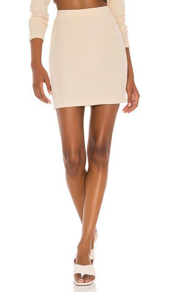 L'Academie The Marietta Mini Skirt in Cream in beige