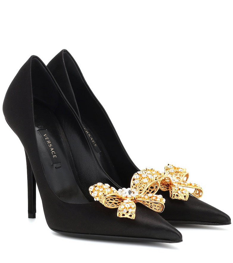 Versace Embellished satin pumps in black