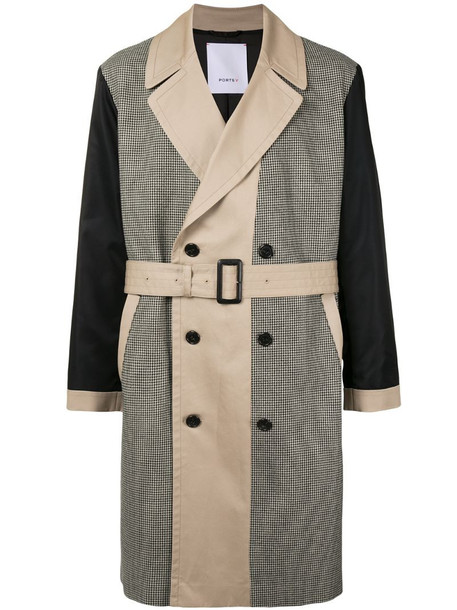 Ports V houndstooth-pattern panelled trench coat in grey