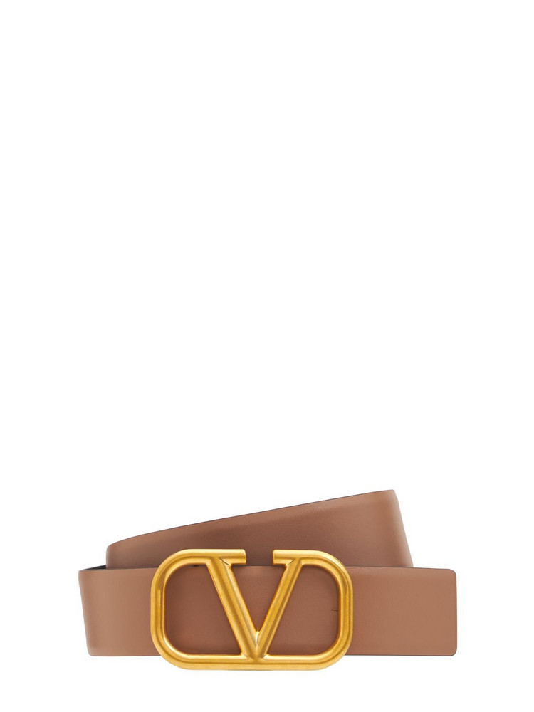 VALENTINO GARAVANI 40mm Go Logo Reversible Leather Belt in nero / brown