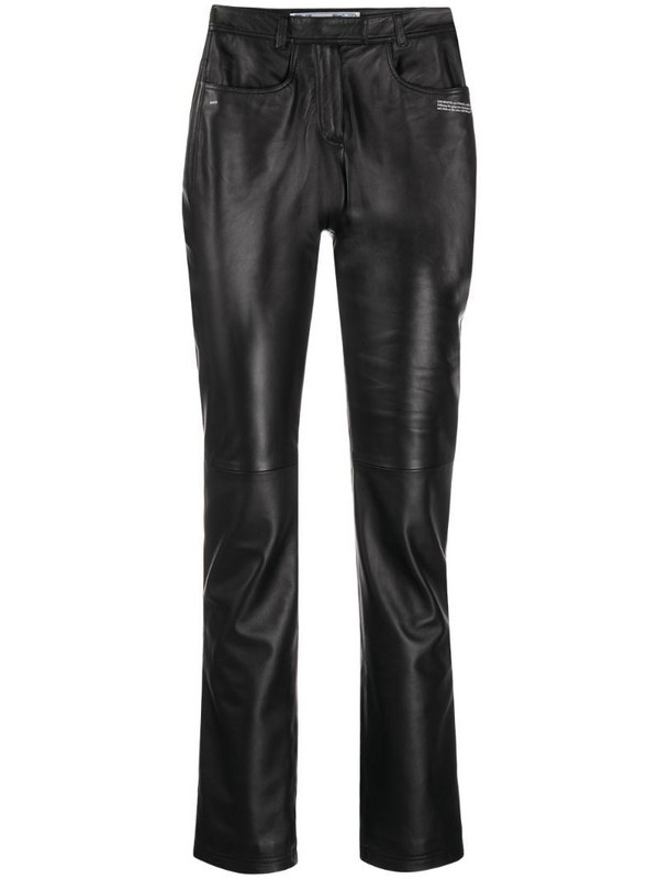 Off-White polished-finish trousers in black