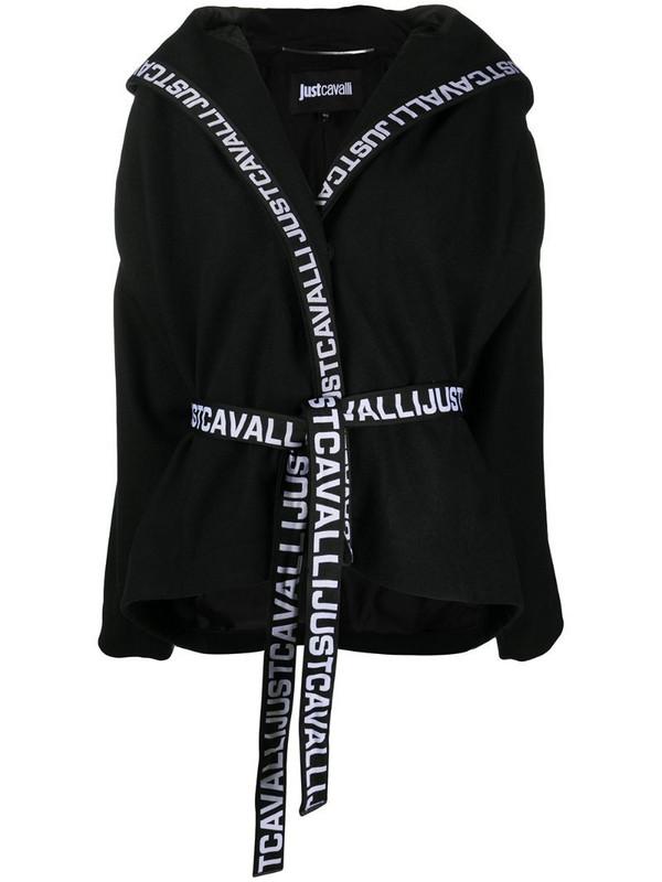 Just Cavalli logo trim hooded jacket in black