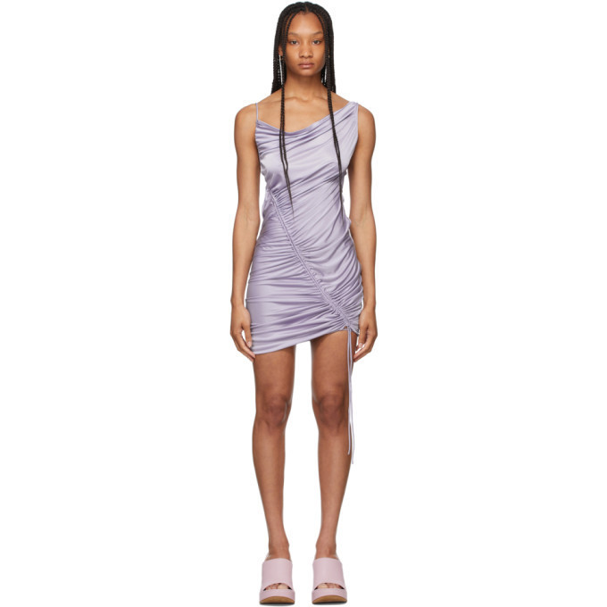 Bottega Veneta Purple Satin Jersey Drawstring Dress in lilac