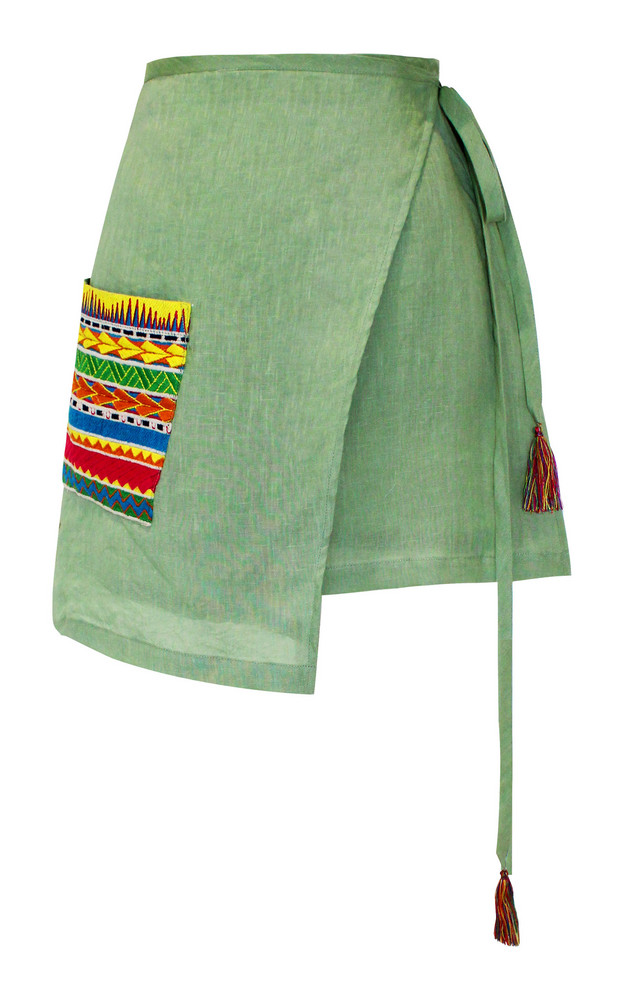 All Things Mochi Ivy Linen Skirt in green