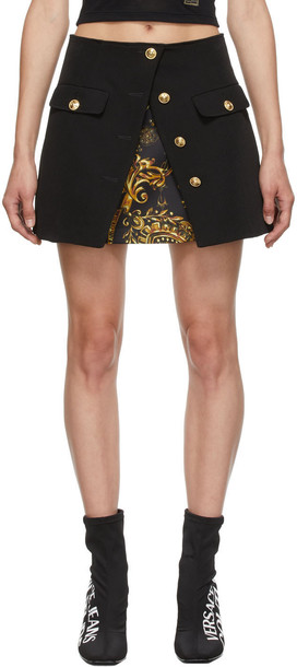 Versace Jeans Couture Black Techno Cady Miniskirt in nero