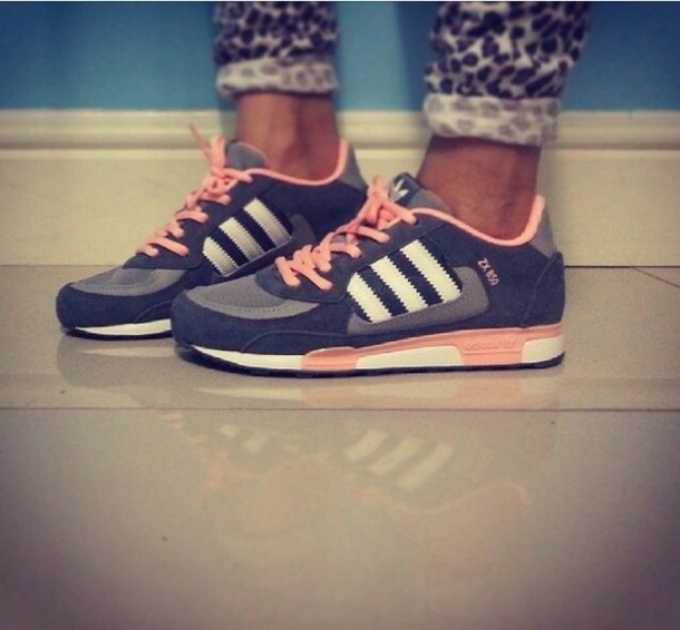 shoes adidas shoes adidas sneakers rose pink grey gris rose gris fashion sportswear