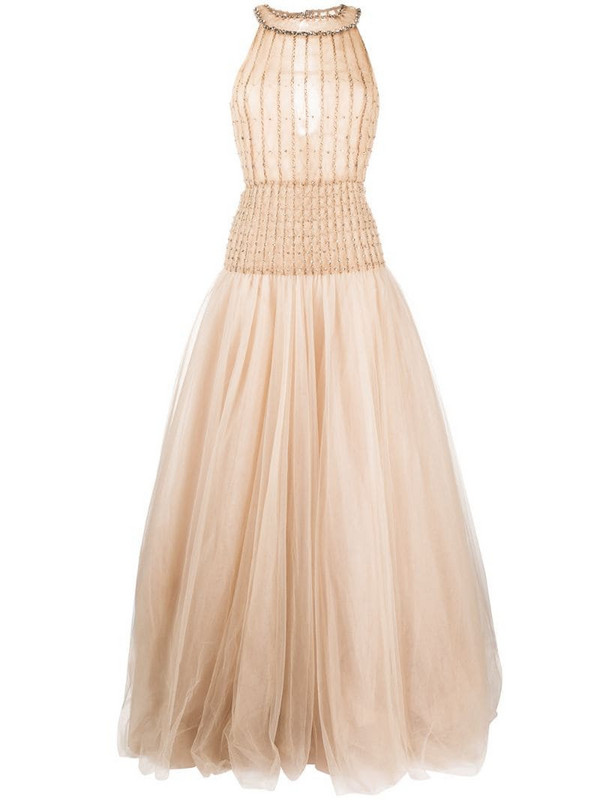 Valentino Pre-Owned 2012 sleeveless tulle gown in neutrals