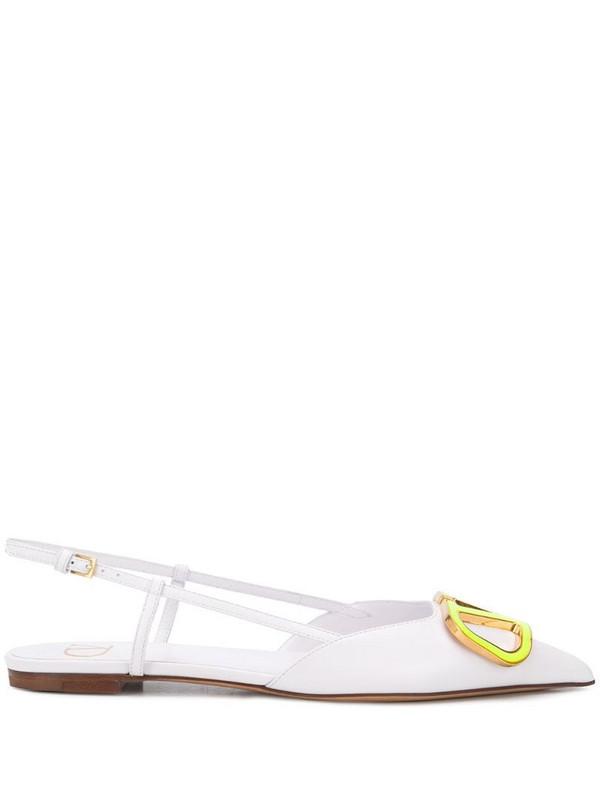 Valentino Garavani VLOGO slingback ballerina shoes in white