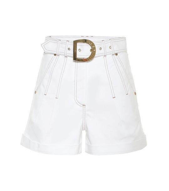 Balmain High-rise stretch-cotton shorts in white