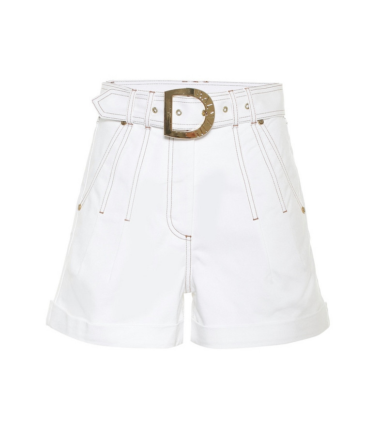 Balmain High-rise stretch-cotton shorts in white