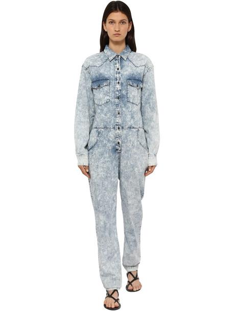ISABEL MARANT ÉTOILE Idesia Bleached Cotton Denim Jumpsuit in blue