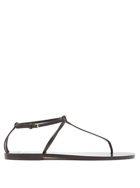 Valentino - Rockstud Flat Leather Sandals - Womens - Black