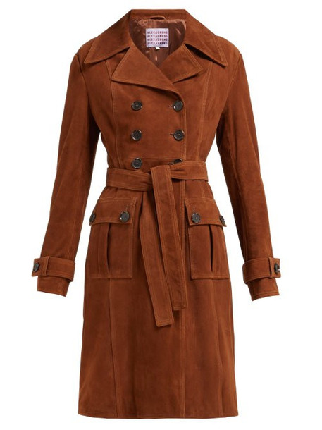 Alexachung - Belted Double Breasted Suede Coat - Womens - Brown