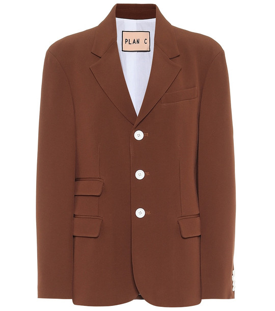 Plan C Single-breasted blazer in brown