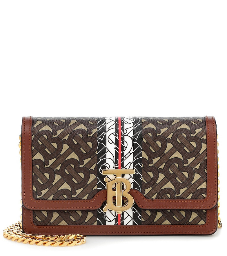 Burberry Carrie TB leather shoulder bag in brown