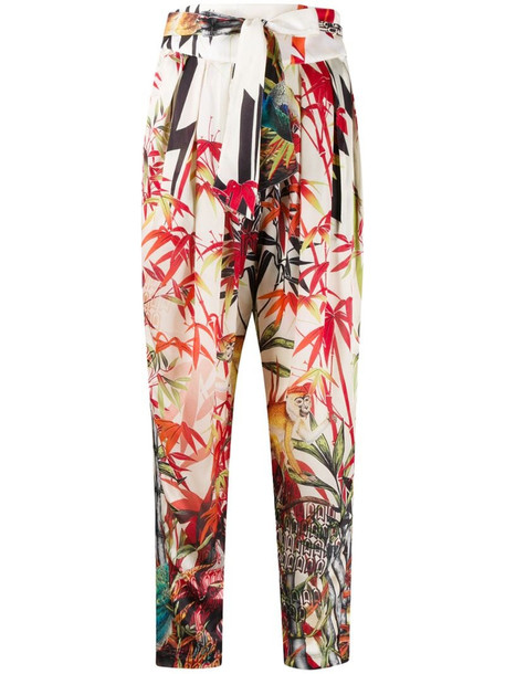 Dsquared2 tropical print tapered trousers in neutrals