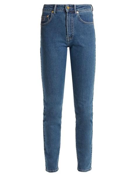 Emilia Wickstead - Kendall Slim Leg Stretch Denim Jeans - Womens - Light Blue