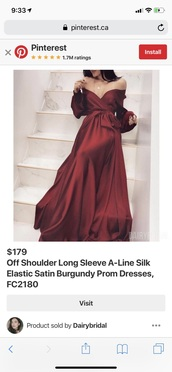 dress,burgundy dress,satin,silk,long sleeves,long dress