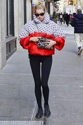 jacket,puffer jacket,elsa hosk,celebrity,leggings,model off-duty,streetstyle
