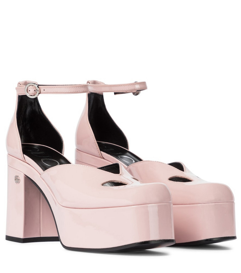 Gucci Patent leather platform pumps in pink