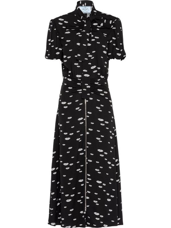 Prada lips-print tie-neck dress in black