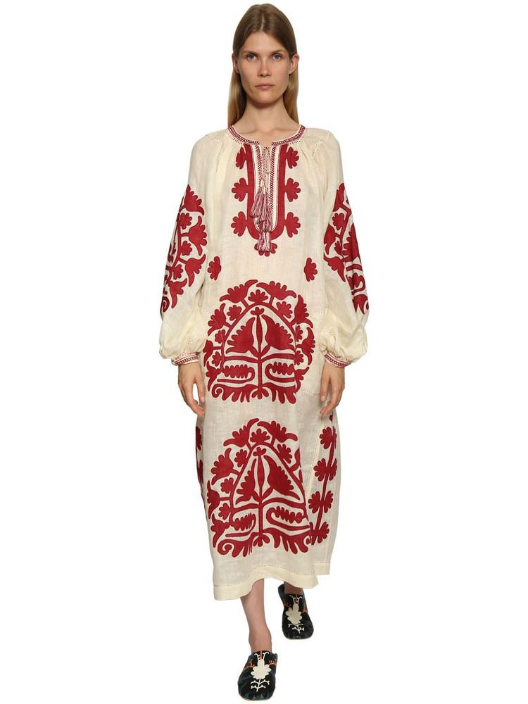 VITA KIN Shalimar Embroidered Linen Dress in red / white