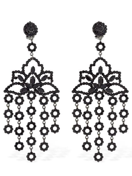 ETRO Maxi Chandelier Crystal Clip-on Earrings in black