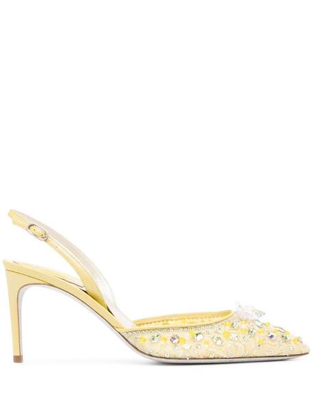 René Caovilla Cinderella pumps in yellow