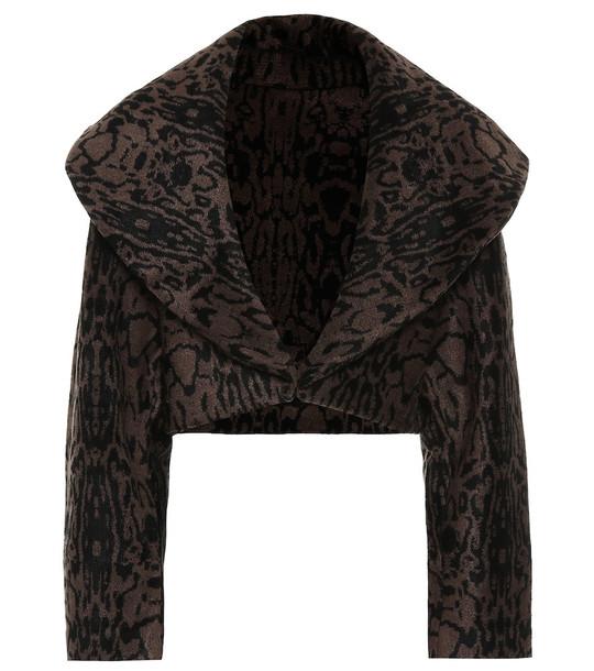 Alaïa Leopard jacquard jacket in brown