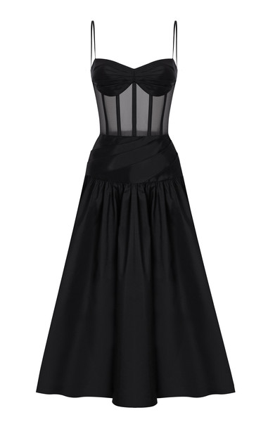 Rasario Pleated Silk-Blend Corset Dress Size: 34 in black