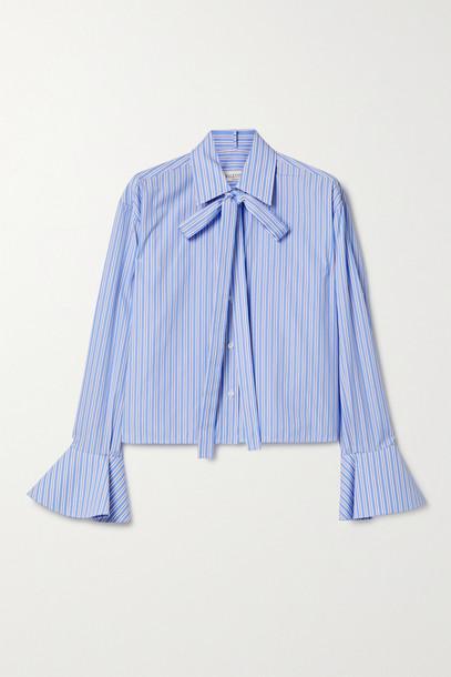 VALENTINO - Tie-neck Striped Cotton-poplin Shirt - Blue