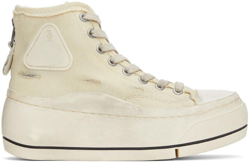 R13 Off-White Distressed High-Top Sneakers in ecru
