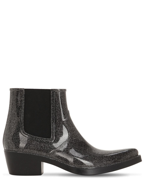 COLORS OF CALIFORNIA 40mm Glittered Rubber Cowboy Boots in black