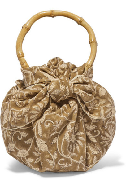 Emily Levine - Dumpling Knotted Floral-print Cotton-voile Tote - Brown
