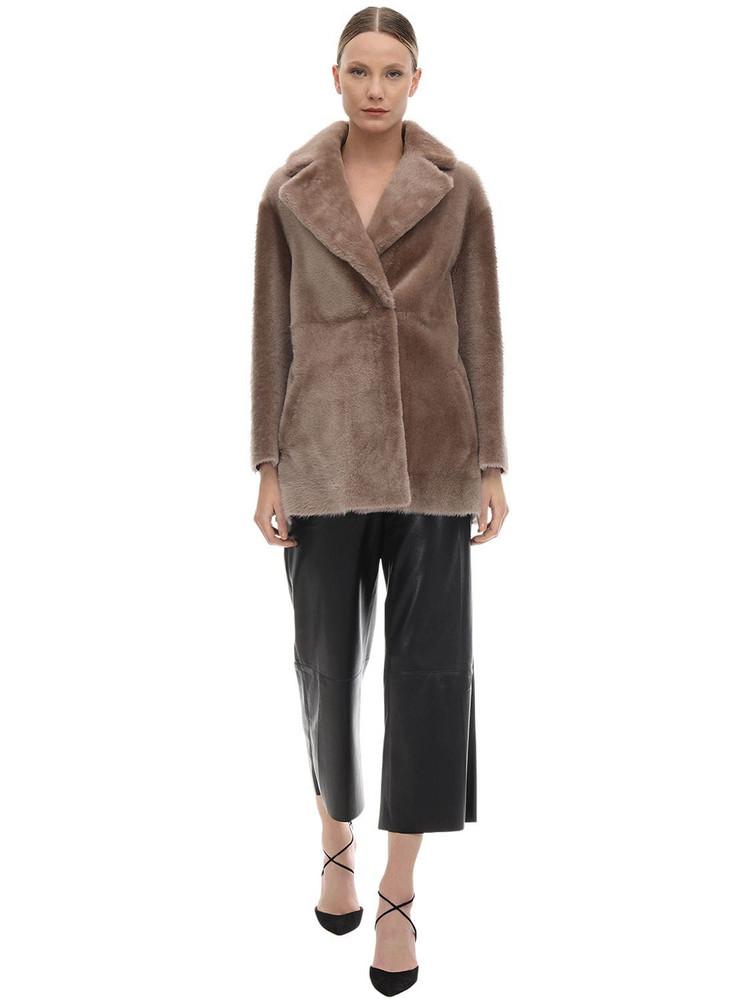 BLANCHA Fur Coat in brown / stone