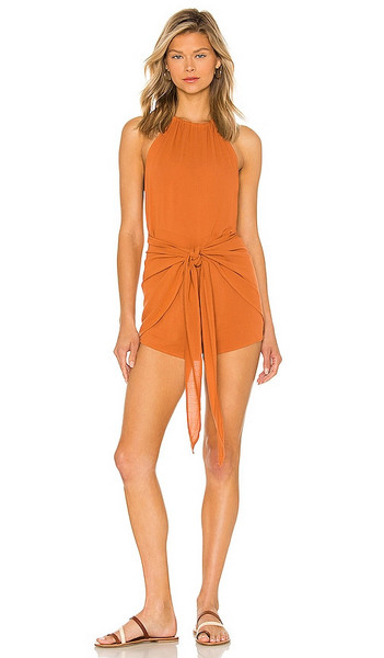 Tularosa Rory Romper in Rust in pink
