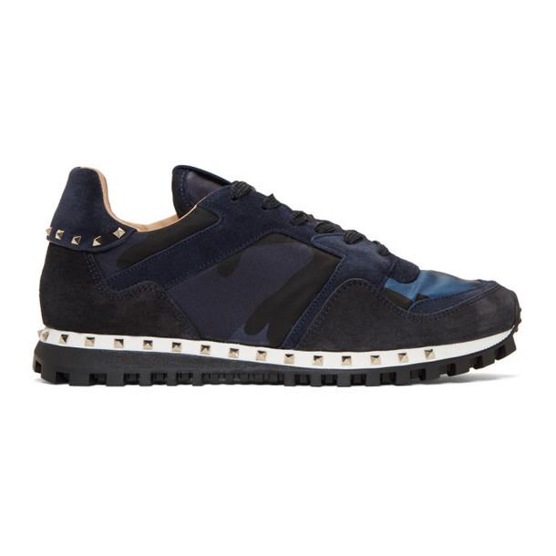 Valentino Navy Valentino Garavani Camo Rockrunner Sneakers