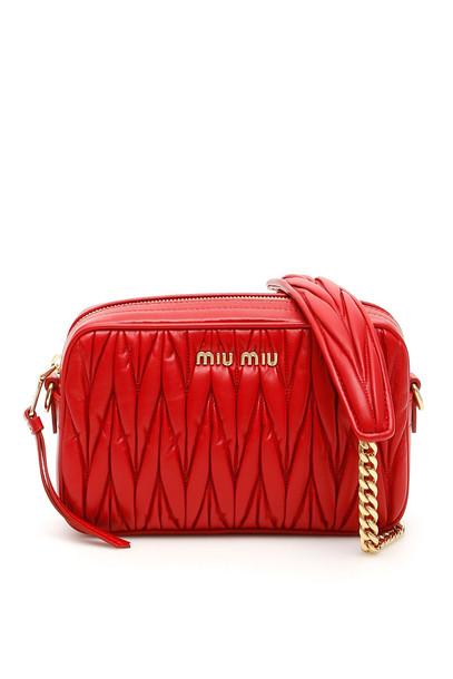 Miu Miu Matelassé Nappa Camera Bag in red