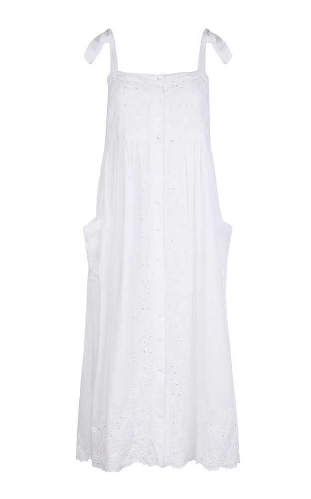 Juliet Dunn Embroidered Washed Cotton Midi Dress in white