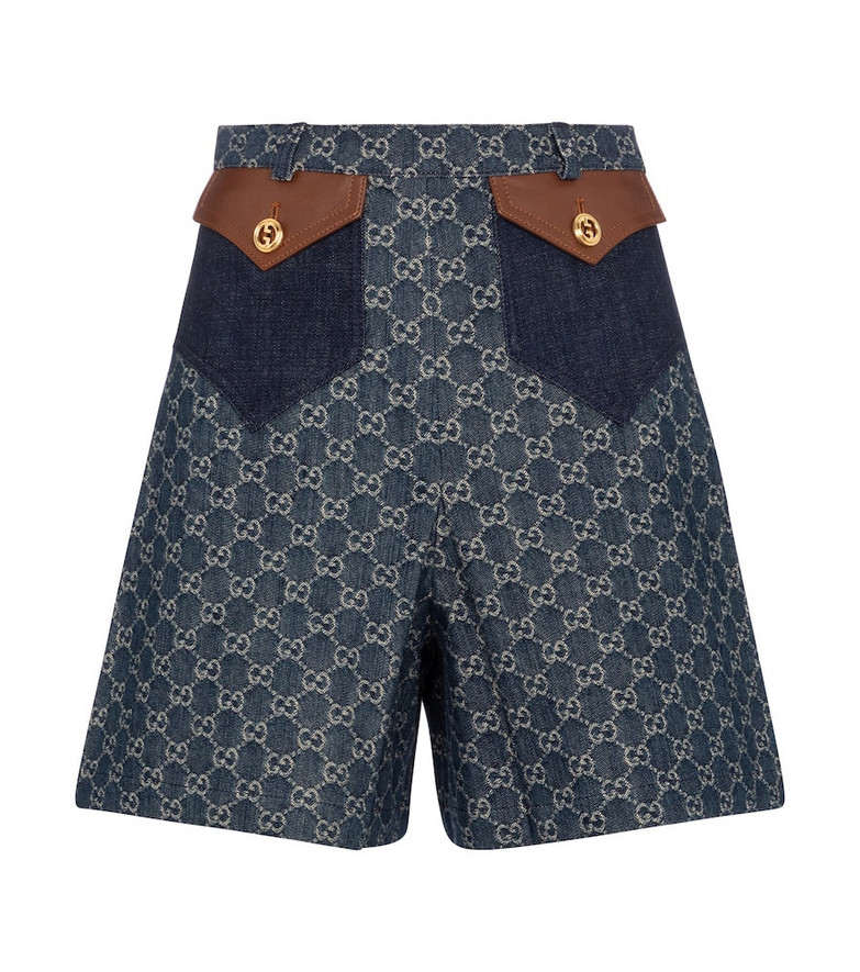 Gucci GG jacquard denim shorts in blue