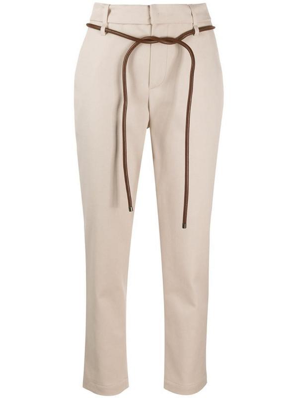 Brunello Cucinelli belted slim-fit trousers in neutrals
