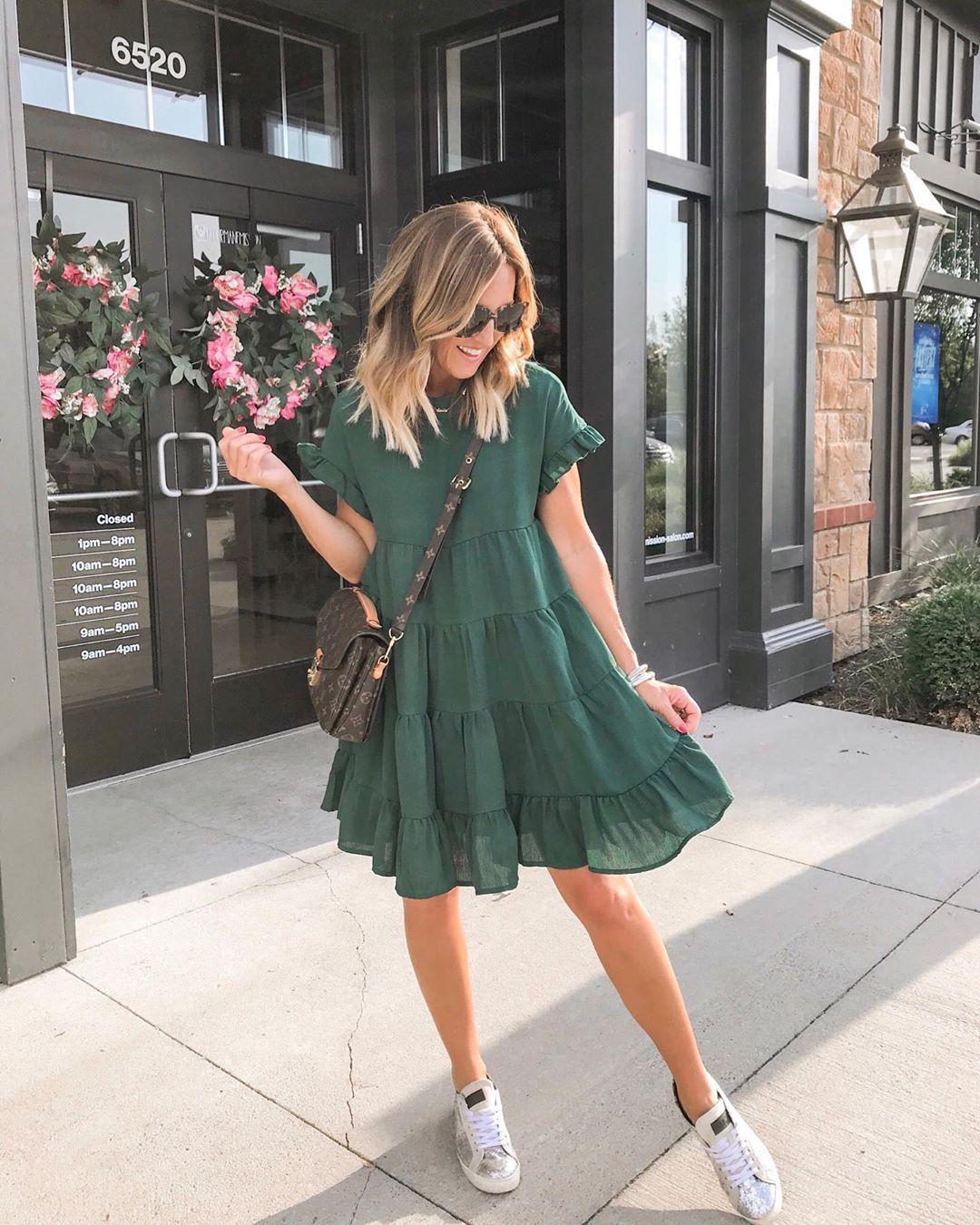 dress mini dress short sleeve dress sneakers crossbody bag