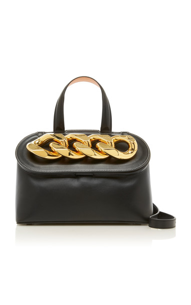 JW Anderson Lid Chain Leather Top Handle Bag in black