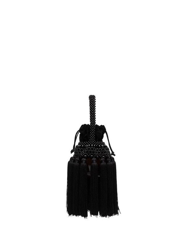 Aranaz Coconut tassel-detailing mini bag in black