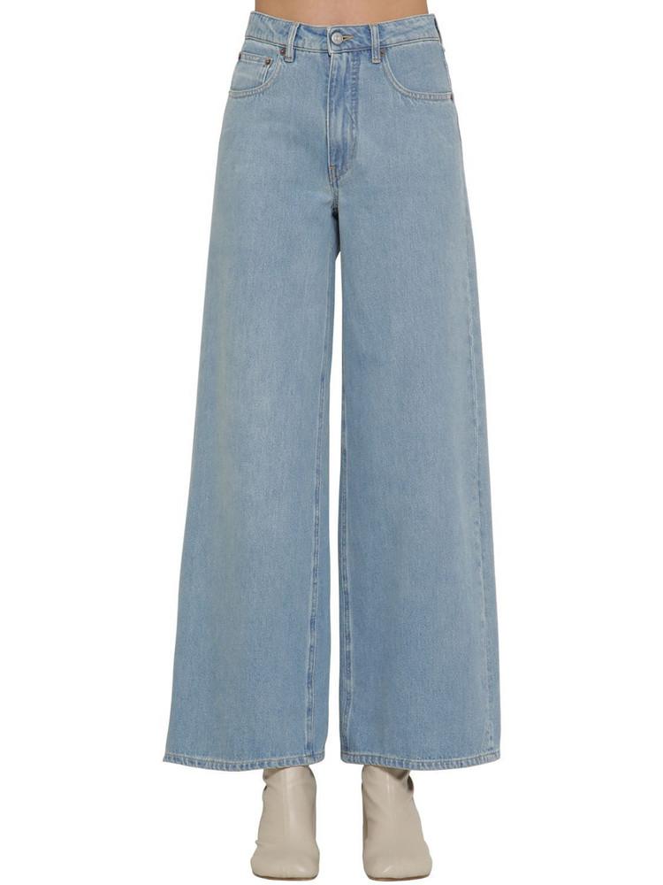 MM6 MAISON MARGIELA High Rise Wide Leg Cropped Denim Jeans in blue