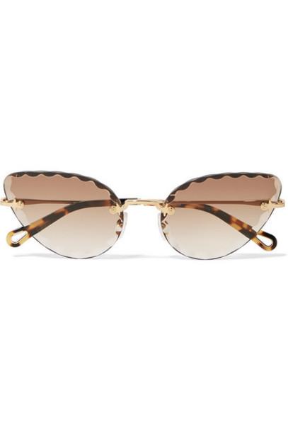 Chloé Chloé - Rosie Cat-eye Gold-tone And Tortoiseshell Acetate Sunglasses - Brown