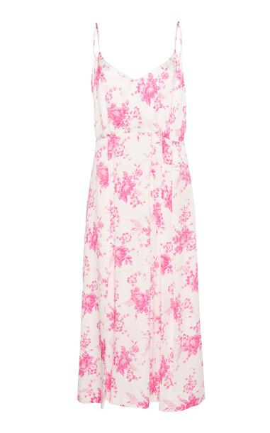 Les Rêveries Pleated Silk Dress in pink
