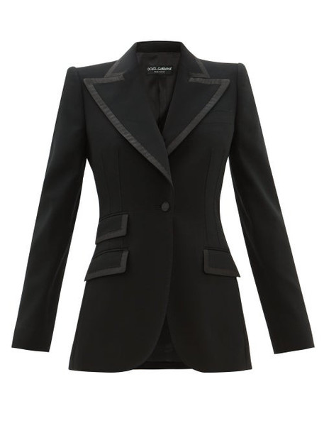 Dolce & Gabbana - Single-breasted Faille-trimmed Wool-blend Blazer - Womens - Black