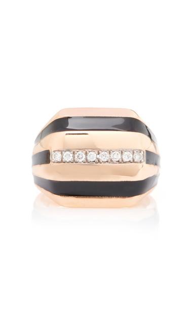 Melis Goral Matis 14K Gold Enamel and Diamond Ring